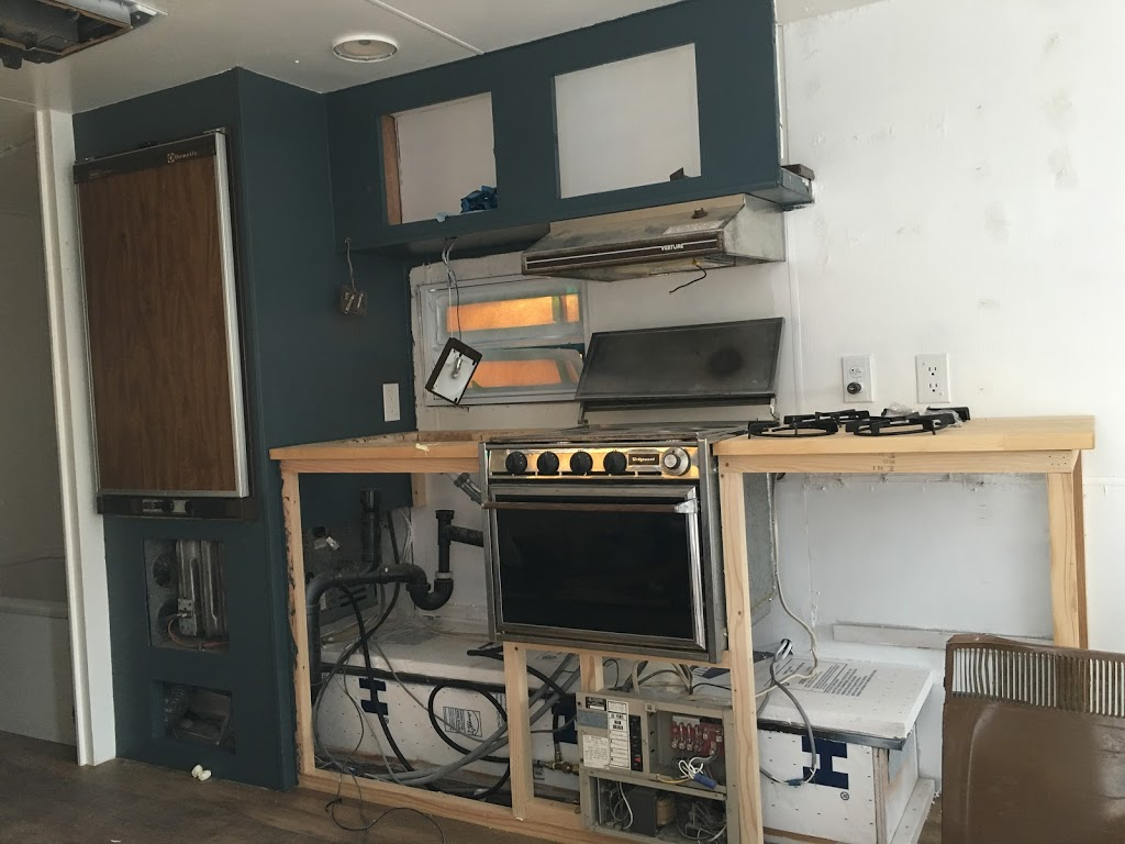 Trailer – Installed Oven, Third Trip – Appliances Hooked Up & Working!